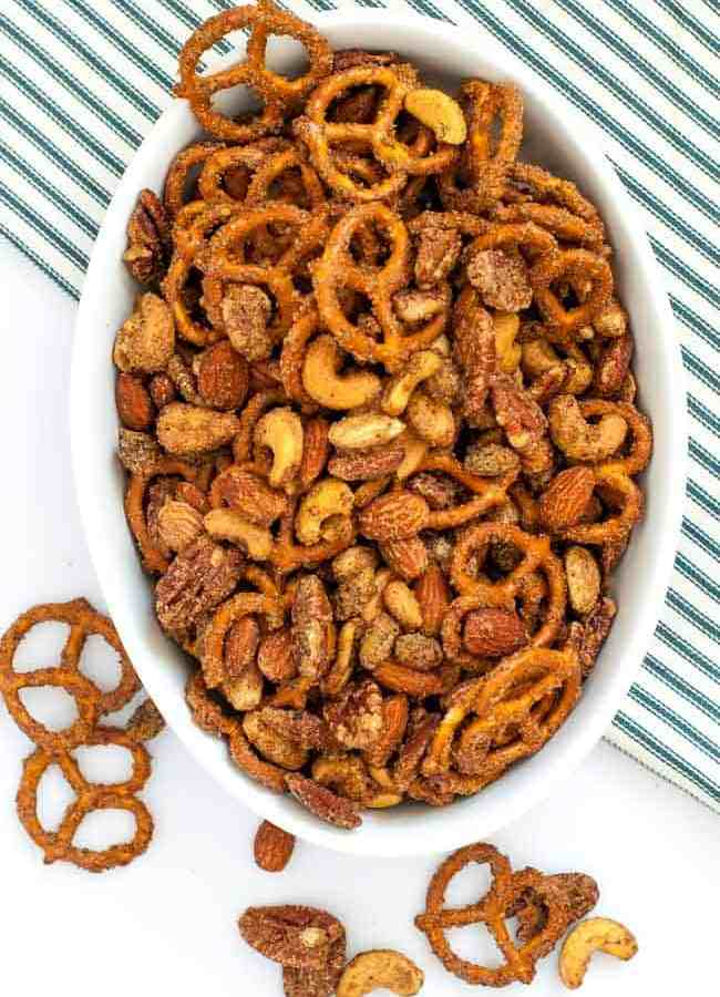 Sweet and Spicy Pretzel Nut Snack Mix