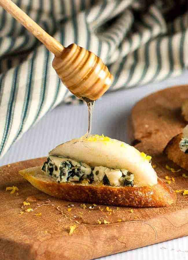 Blue Cheese Crostini with Crisp Honeyed Pear