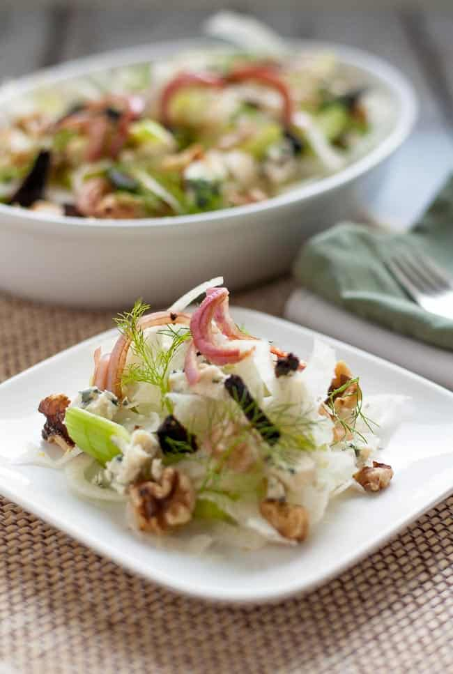 Get the recipe for this delicate salad of fennel and celery with surprising bursts of flavour from shallots, figs, blue cheese and walnuts. It's one you'll make again and again! |www.flavourandsavour.com