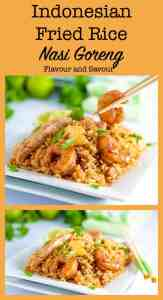 Indonesian Fried Rice - Nasi Goreng with shrimp and chicken