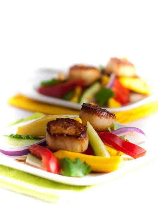 Seared Scallops with Mango Salad