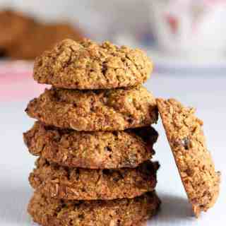 Gluten Free Cherry Coconut Oatmeal Cookies. Sweetened with low glycemic coconut palm sugar, these are a healthy option for cookie lovers!  www.flavourandsavour.com