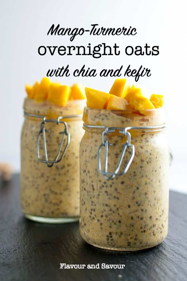 Mango Turmeric Overnight Oats in jars with title