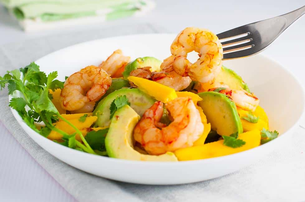 Prawn Mango Avocado Salad with Lemon Lime Dressing. Done and on the table in 15 minutes!
