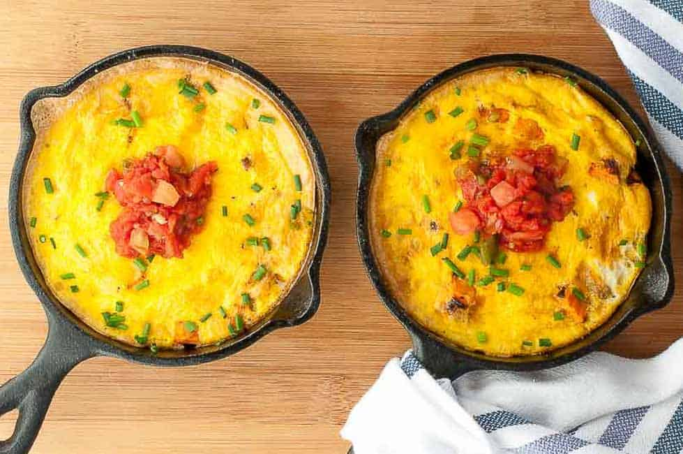 This Sweet Potato Frittata makes a healthy breakfast or lunch. It's flavoured with shallots and fresh chives and topped with homemade or store-bought fresh salsa.