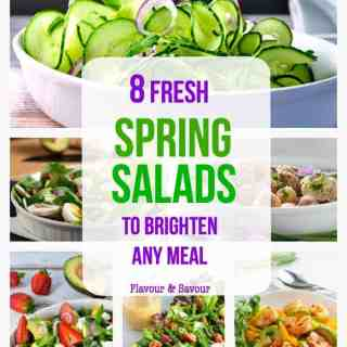 A collection of 8 favorite spring salads to add colour to your meals. All are gluten-free, some are paleo, some vegetarian, some vegan, and some dairy-free.