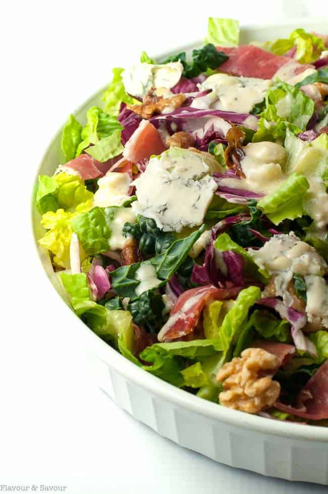 Hearty Tuscan Salad with Creamy Gorgonzola Dressing