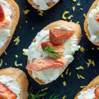 Smoked Salmon Crostini with Whipped Honey Lemon Goat Cheese