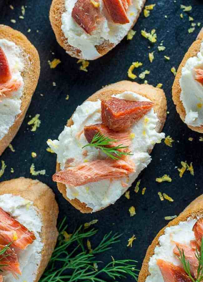 Smoked Salmon Crostini with Whipped Goat Cheese