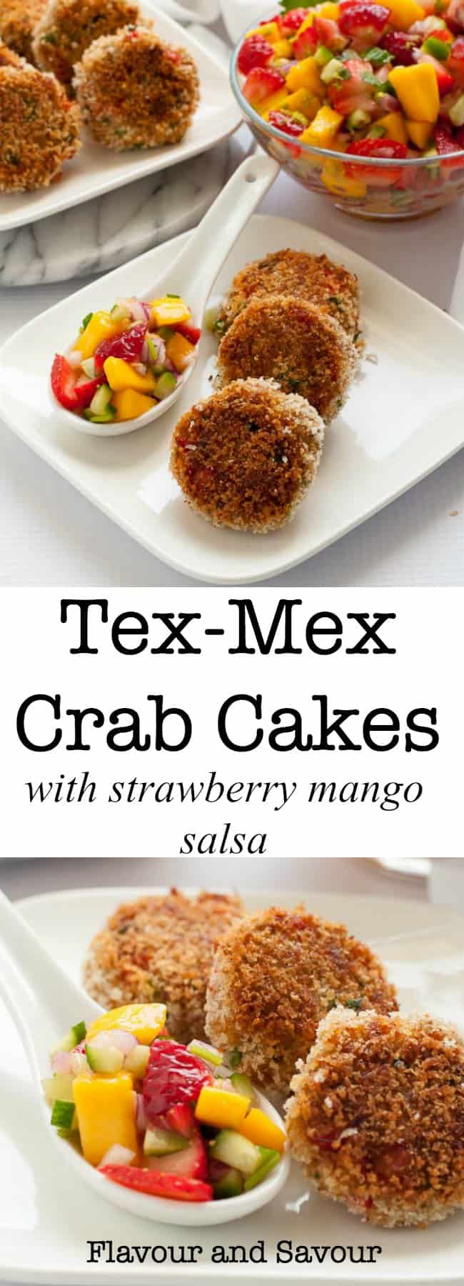 These CrispyTex-Mex Crab Cakes are packed with fresh crab, red pepper, onion, garlic, cilantro and jalapeño. Delicious served with Strawberry Mango Salsa.