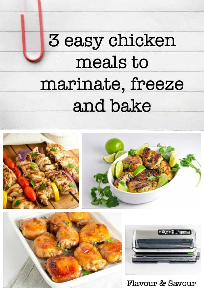 3 Easy Chicken Meals to Marinate, Freeze and Bake. VIDEO! Watch how easy it can be to stock up your freezer with delicious meals that will stay fresh and tasty for months! #sponsored #ad