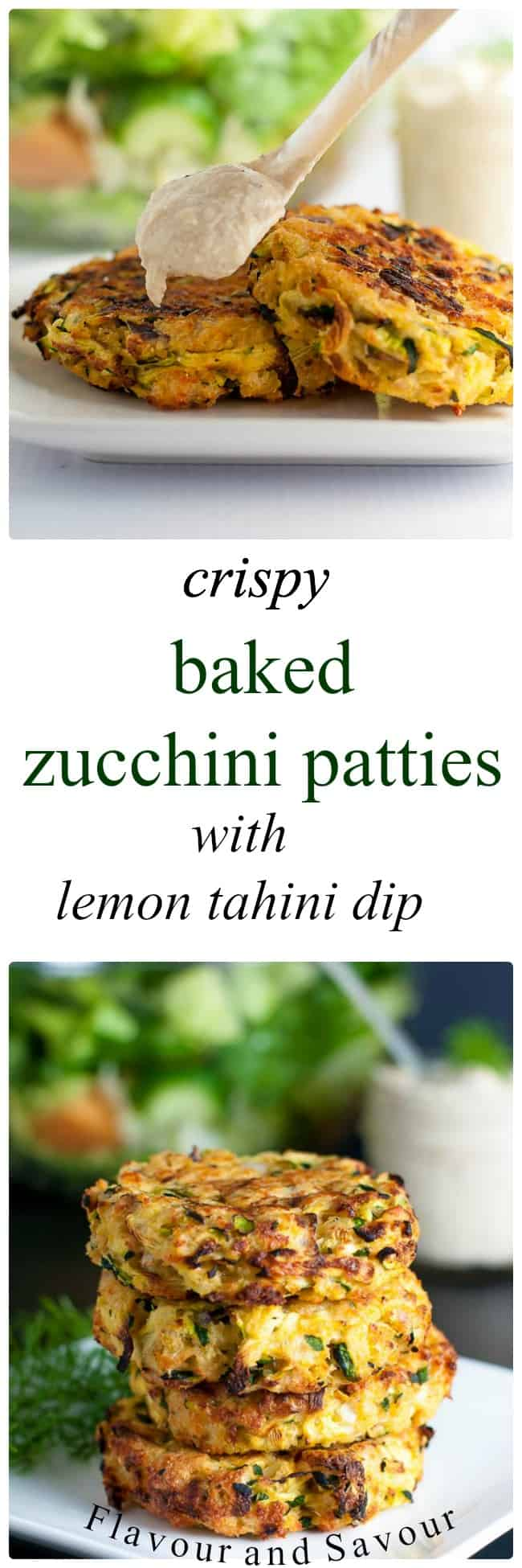 These Crispy Baked Zucchini Patties make a healthy, gluten-free, make-ahead meal. Get the instructions for properly draining zucchini to get crispy patties. #glutenfree #zucchini #baked #fritters #lemon_tahini