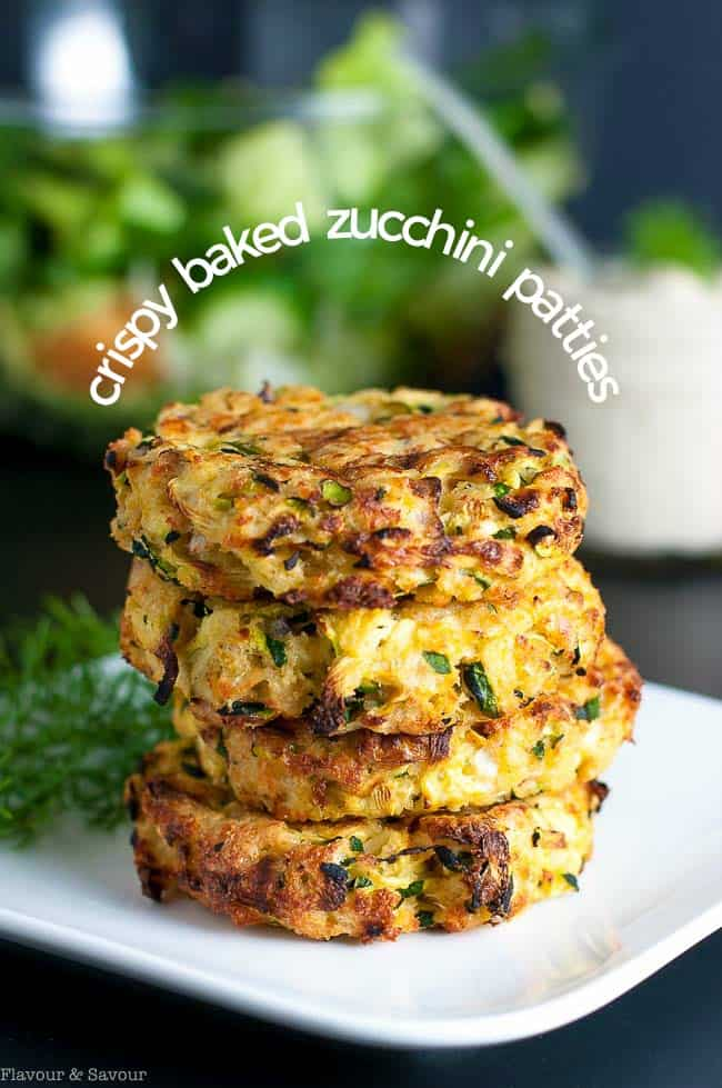 These Crispy Baked Zucchini Patties make a healthy, gluten-free, make-ahead meal. Get the instructions for properly draining zucchini to get crispy patties. | www.flavourandsavour.com