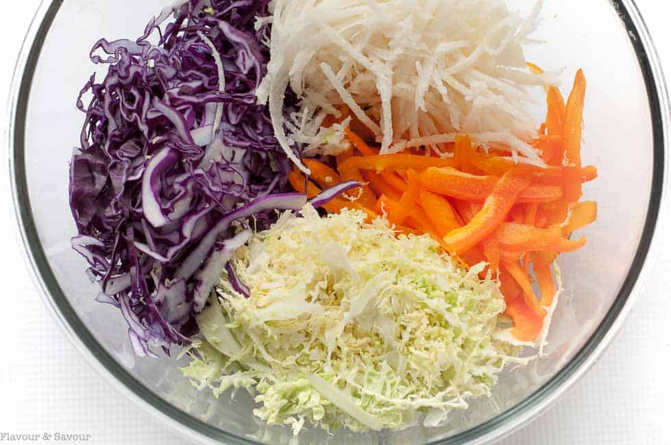 Coleslaw ingredients for Shrimp Tacos with Tomatillo Guacamole and Cilantro Lime Slaw