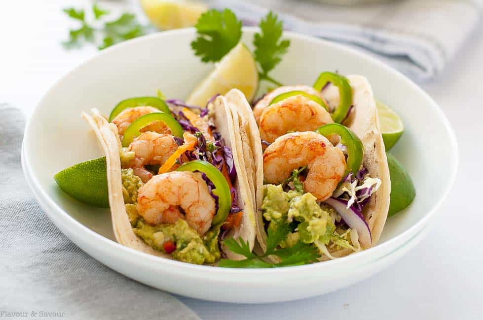 Shrimp Tacos with Tomatillo Guacamole and Cilantro Lime Slaw