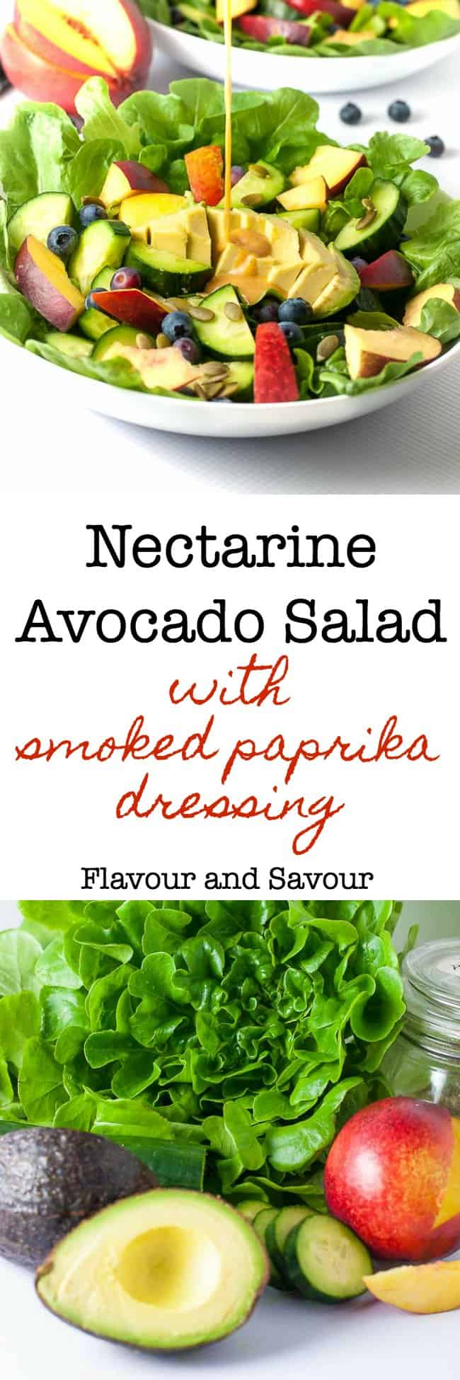 Sweet stone fruit, creamy avocados and crisp cucumbers drizzled with a smoky dressing make this paleo and vegan Nectarine Avocado Salad a superb addition to a summertime meal. #paleo #glutenfree #avocado #nectarine #pumpkin_seeds #summer_salad