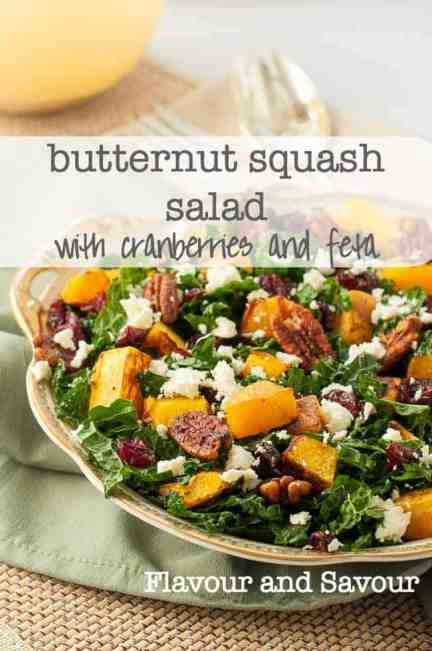 If you like Butternut Squash with fresh rosemary, you'll love this Butternut Squash Salad with Kale Cranberries + Feta. Perfect for fall or winter meals. |www.flavourandsavour.com