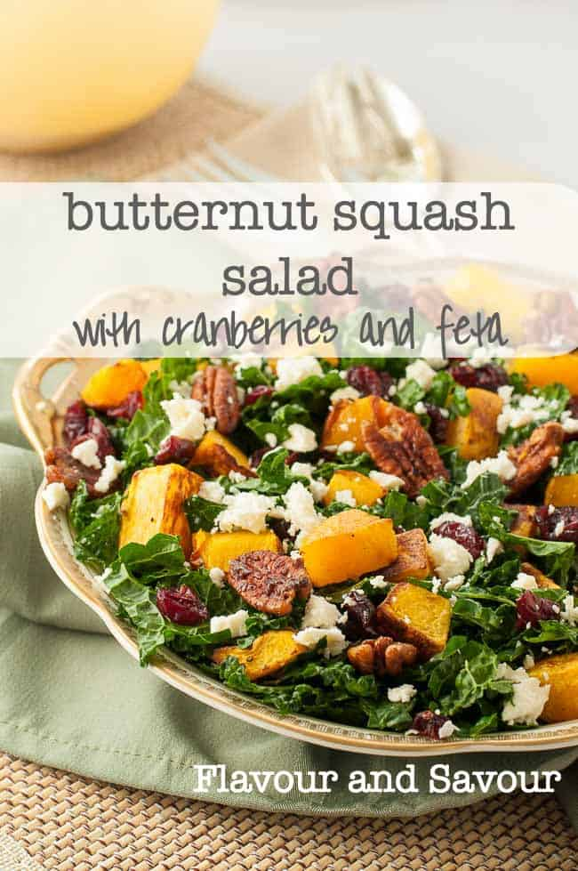 Butternut Squash Salad with Kale Cranberries + Feta. Perfect for fall or winter meals. |www.flavourandsavour.com