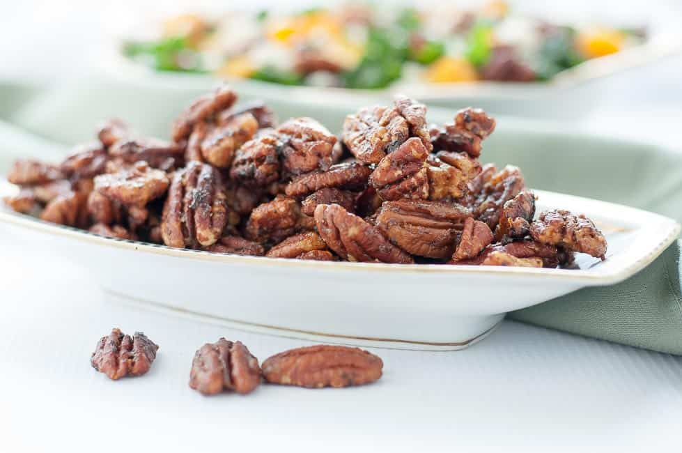 20-minute Caramel Spiced Pecans displayed as a salad topper or a finger food