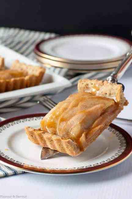 Gluten Free Cinnamon Pear Tart with Caramel Sauce