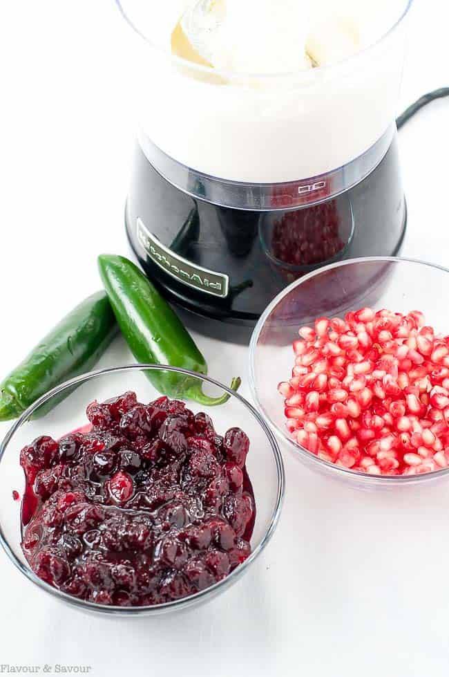 Ingredients for Cranberry Jalapeño Whipped Feta Dip