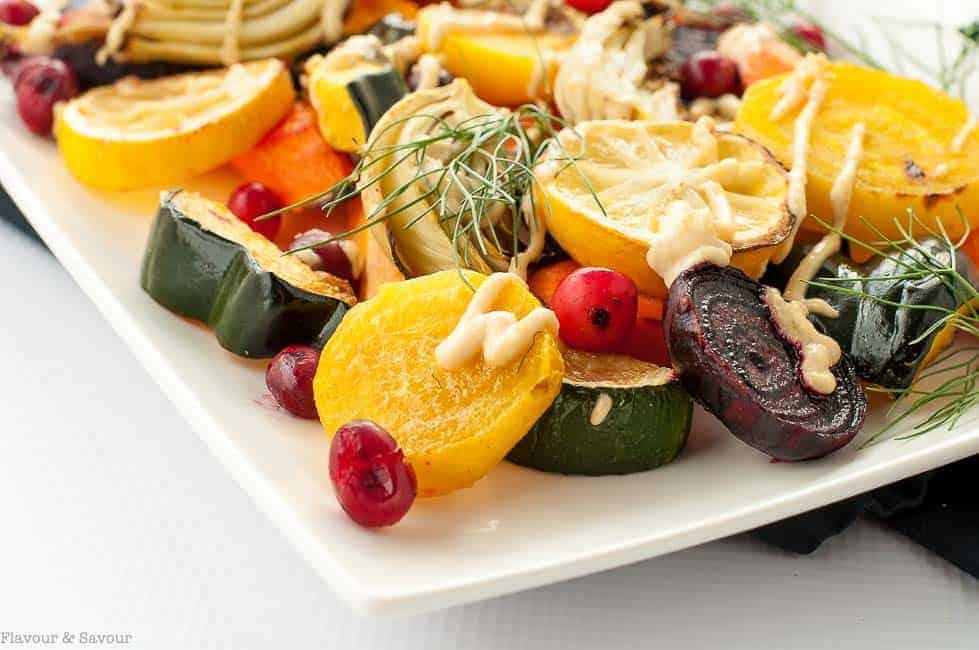 Lemon Tahini Roasted Vegetables