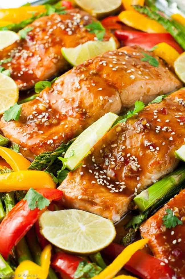 Close up view of Thai Chili Sheet Pan Salmon after baking.