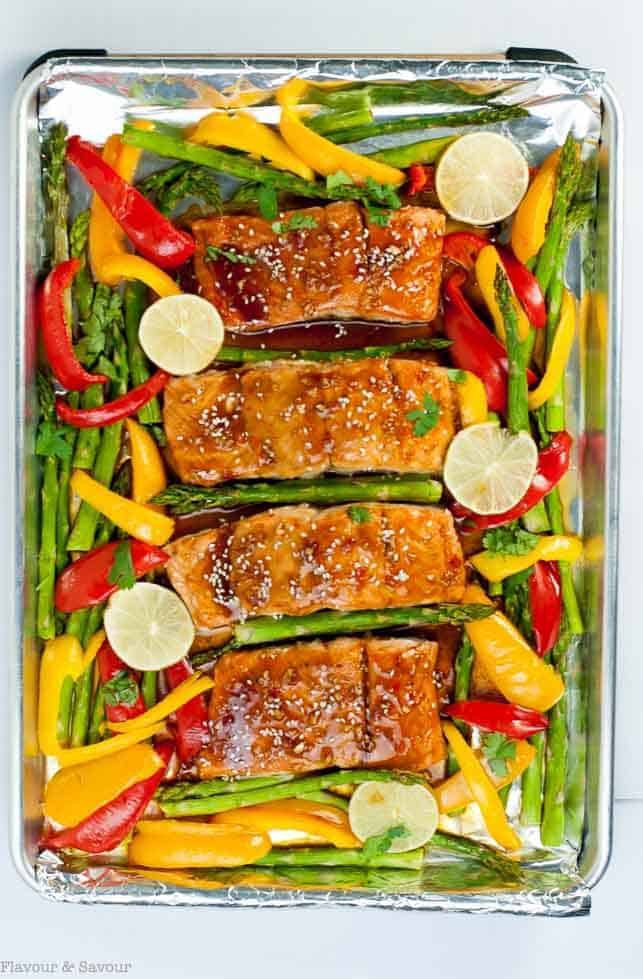 Thai Chili Sheet Pan Salmon after baking and ready to serve.