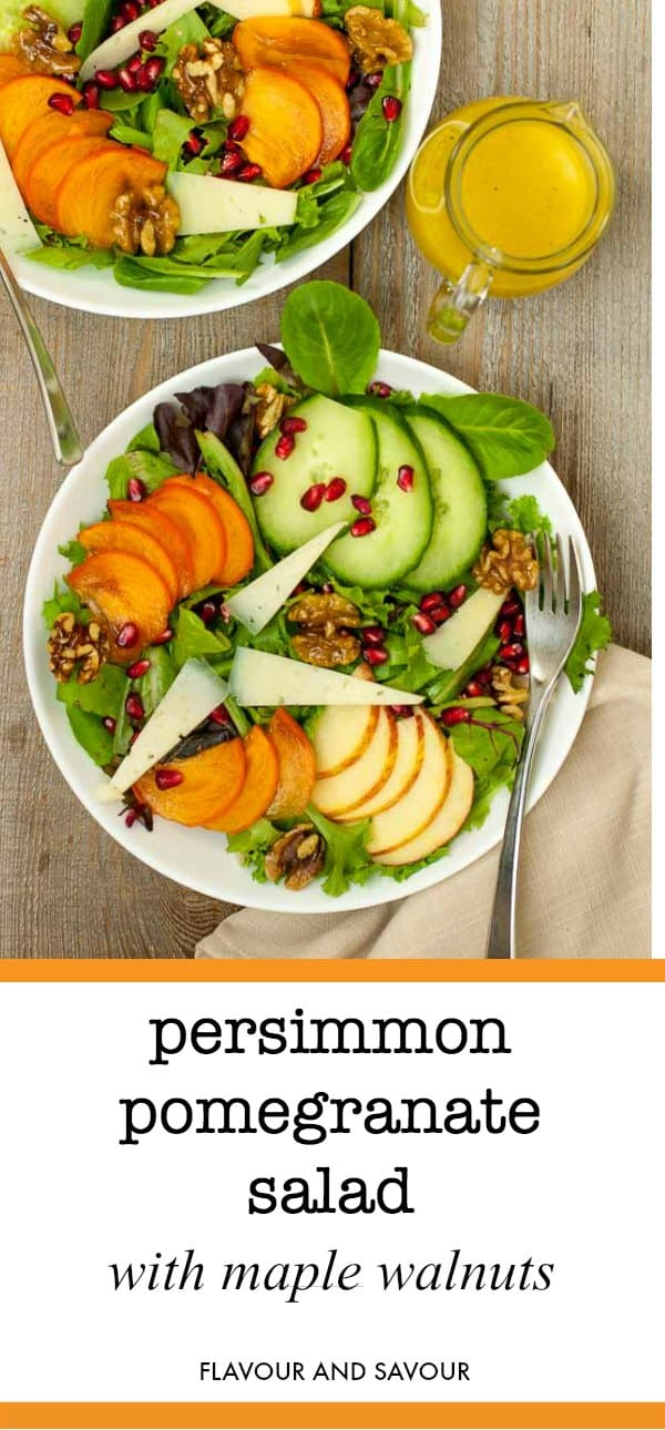 Add a festive touch to your winter salad with bright and colourful persimmons, pomegranates and apples. Top it with slivers of cheese and maple-glazed walnuts. #persimmon #pomegranate #salad #apples #Manchego #maple #walnuts #honeyDijon