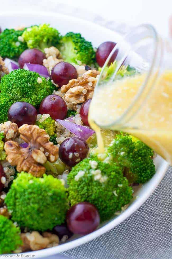Broccoli Grape Quinoa Salad with Sesame Miso Dressing