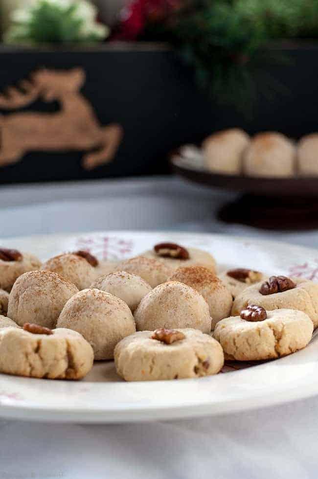 Gluten-Free Almond Shortbread Balls on serving plate
