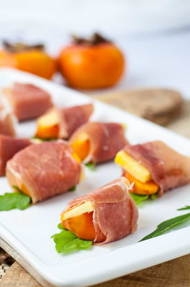 Persimmon Prosciutto Cheese Bites