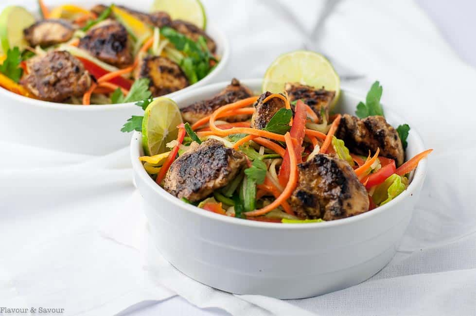 Easiest Chicken Satay Salad with juliennned vegetables