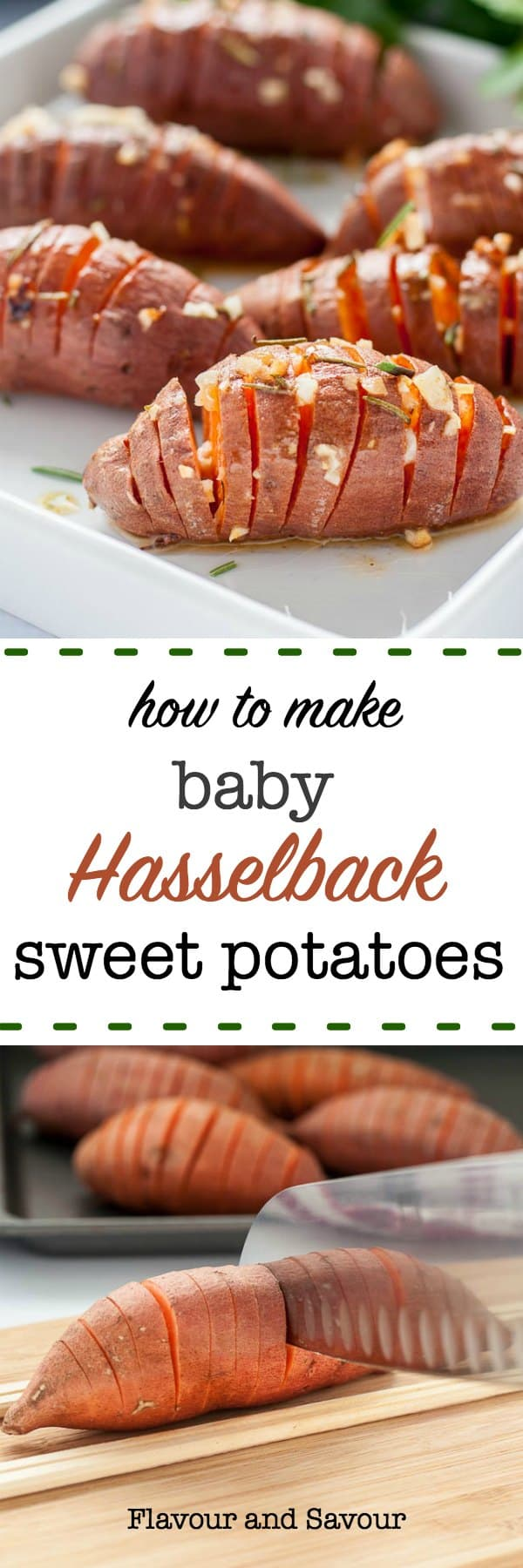 Baby Hasselback Sweet Potatoes with Garlic Herb Butter make a striking side dish. Slice potatoes thinly keeping the base intact, fan out accordion-style, and baste with garlic herb butter. #baby #mini #sweet_potatoes #Hasselback #garlic_butter