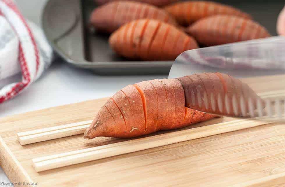 How to Slice Baby Hasselback Sweet Potatoes