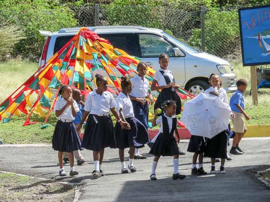 School kids during recess on Petite Martinique