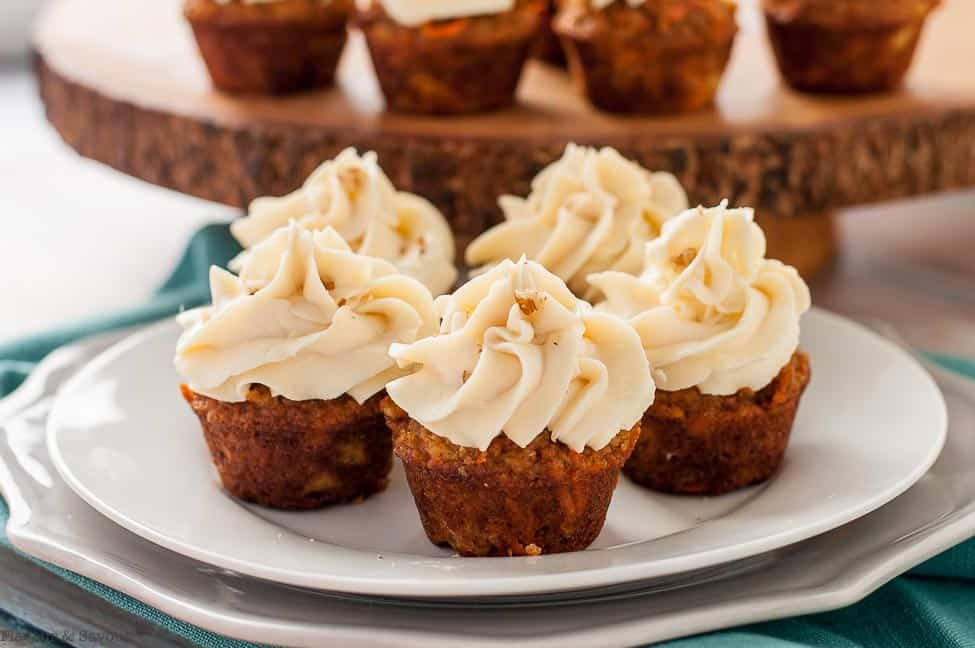 Frosted Mini Gluten-Free Carrot Cake Cupcakes on a plate