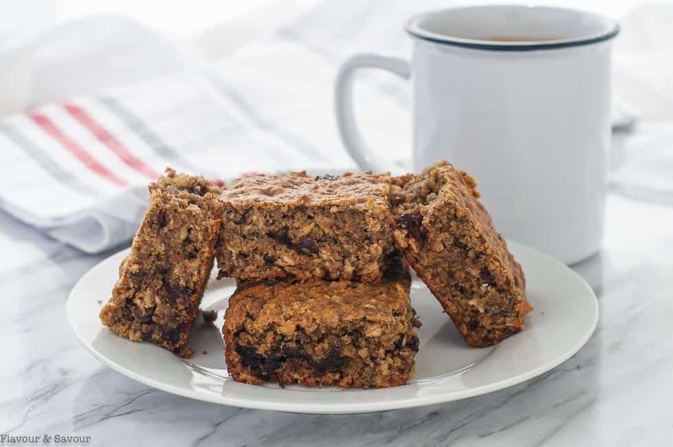 Chocolate Cherry Chia Oatmeal Bars on a plate