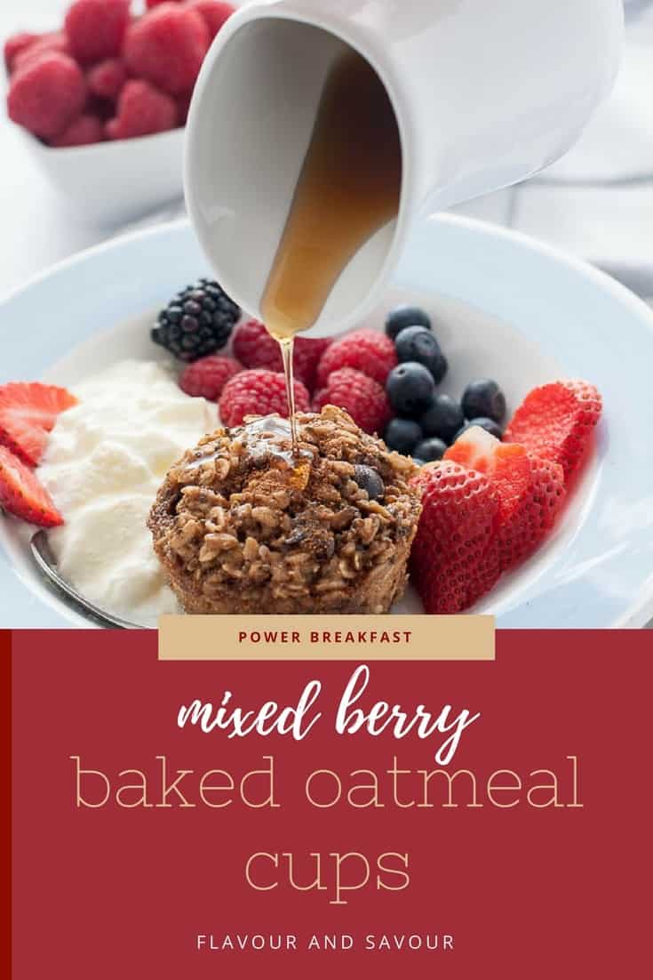 Meal prep your breakfast! Make these Mixed Berry Baked Oatmeal Cups with Chia and Kefir for a healthy grab and go breakfast. Great for mid-day snacks, too. #bakedoatmeal #makeahead #mealprep #breakfast #individual #cups #chia #kefir