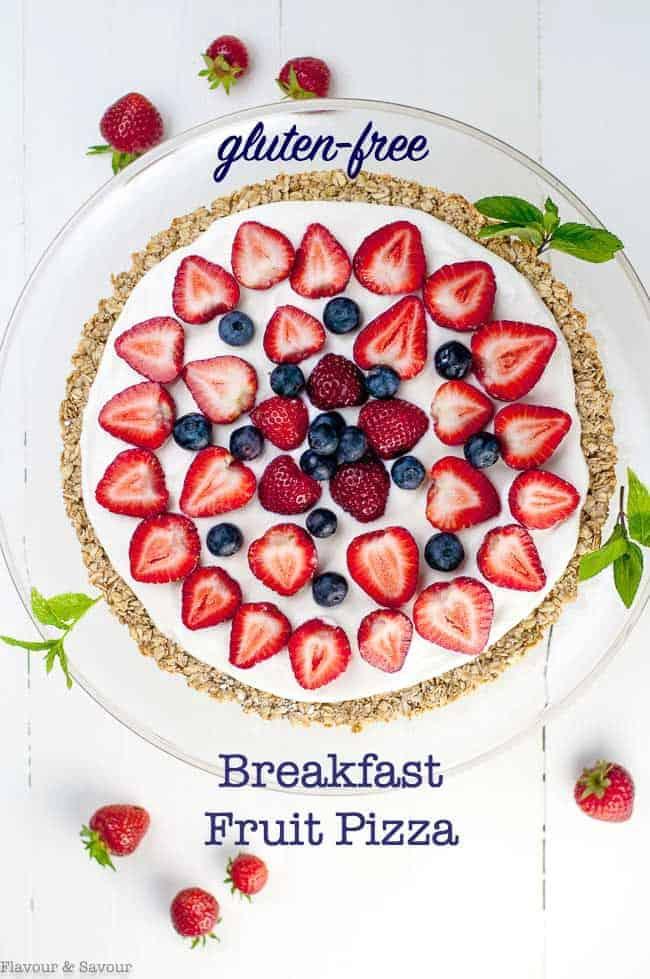 Gluten-free Fruit Pizza with yogurt, strawberries and blueberries