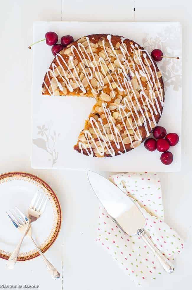 Flourless Cherry Almond Ricotta Cake overhead view