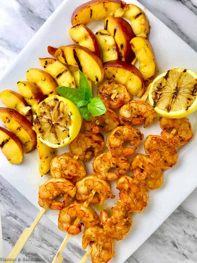 Grilled Peaches and Shrimp for Avocado Grilled Peach and Chipotle Shrimp Salad