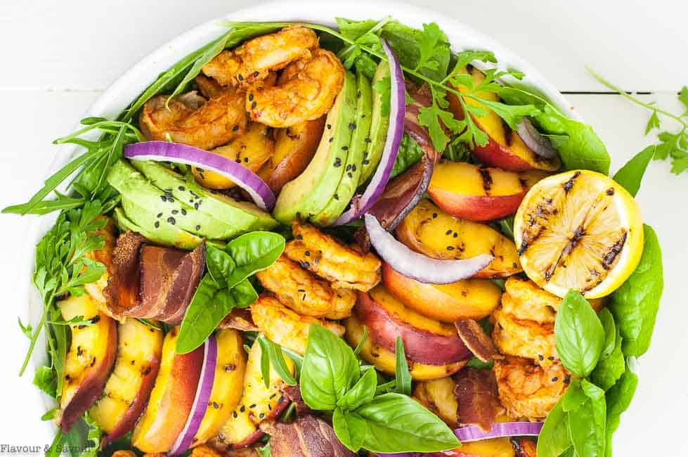 Avocado Grilled Peach Chipotle Shrimp Salad with Bacon