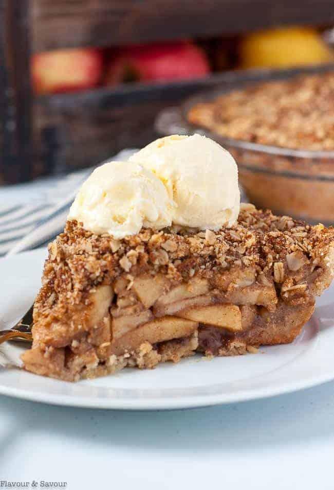 Close up view of Gluten-Free Dutch Apple Pie with ice cream