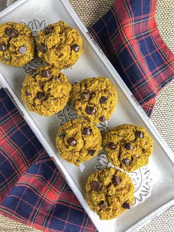 Mini Gluten-Free Pumpkin Muffins on a vintage tray
