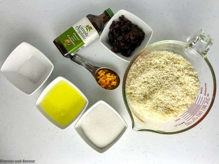 Ingredients for Cranberry Orange White Chocolate Macaroons