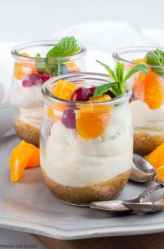 Mini Gluten-free No-bake Cranberry Orange Cheesecake