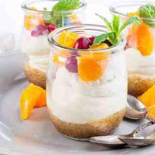 Mini No-Bake Cranberry Orange Cheesecake Mini No-Bake Cranberry Orange Cheesecake in tasting cups