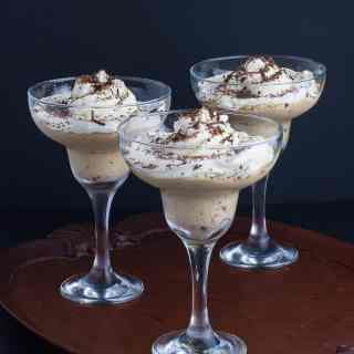 Creamy Ricotta Coffee Mouse in stemmed dessert glasses