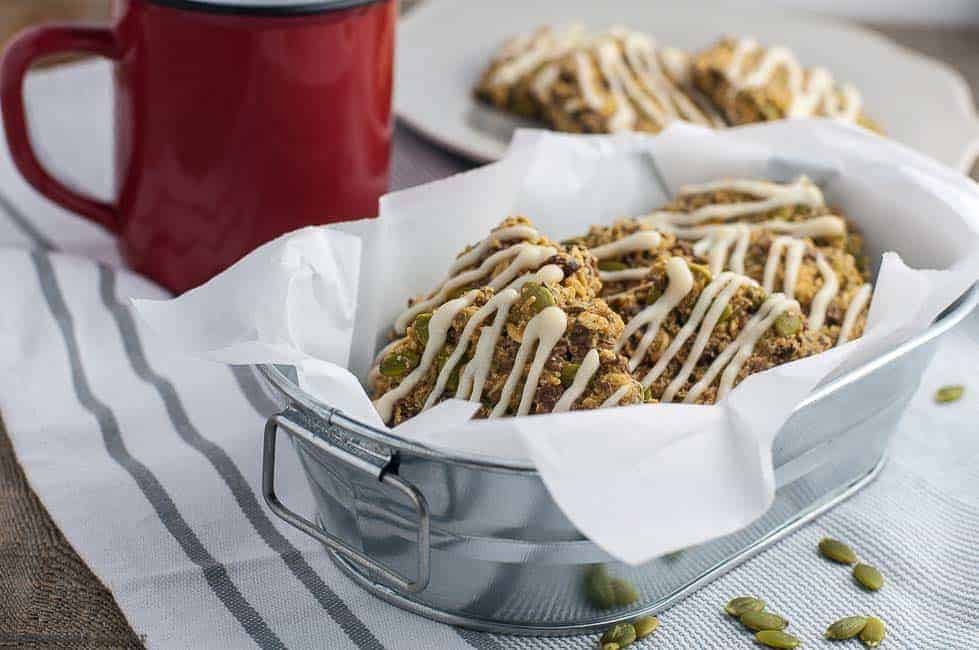 Apple Cinnamon Oatmeal Breakfast Cookies in metal dish